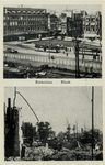 PBK-695 Afbeeldingen van voor en na het bombardement van 14 mei 1940. Gezicht op de Blaak, uit het zuidoosten.