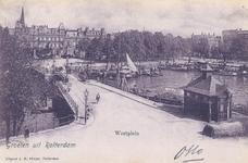PBK-7239 De Westerbrug met rechts de Veerhaven en links de Westerhaven. Op de achtergrond het Westplein vanuit het zuiden.