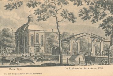 PBK-7520 De Lutherse Kerk aan de Wolfshoek, vanaf de Noordblaak, rechts de Keizersbrug.