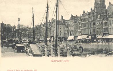 PBK-7922 Het Steiger uit het zuidoosten gezien. In het midden de Wijde Marktsteeg en op de achtergrond de toren van de ...