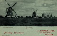 PBK-793 Nieuwjaarwens van J. v. Renswoud & Zoon. Watermolens aan de Boezem.