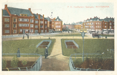 PBK-7964 P.C. Hooftplein, met op de achtergrond de Huygensstraat en het kasteel van Sparta aan de Spartastraat.