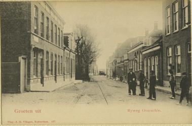 PBK-8278 Rotterdamse Rijweg met links het postkantoor. Op de achtergrond een paardentram van de R.T.M. die van 1890 tot ...