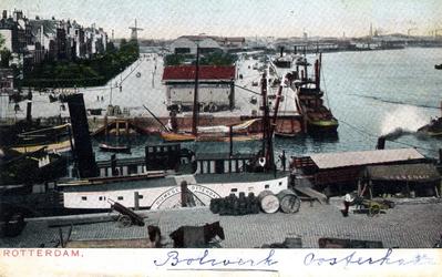 PBK-858 Oosterkade met op de voorgrond de mond van de Oudehaven vanaf het Bolwerk, uit het westen.