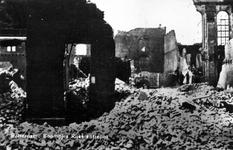 PBK-879 Puinresten na het bombardement van 14 mei 1940.De Boompjes bij de synagoge en het Rijks Entrepôt.