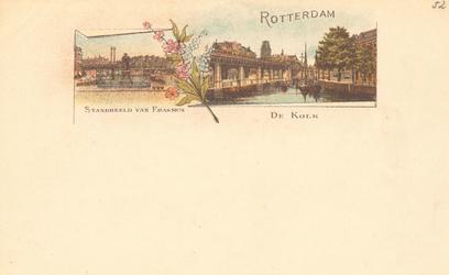 PBK-8855 Rotterdam. Standbeeld van Erasmus. De Kolk.