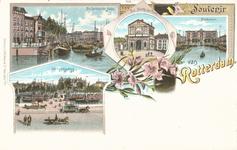 PBK-8866 Souvenir van Rotterdam. De Geldersche Kade, De Delftsche Poort, Postkantoor en de Koningsbrug.