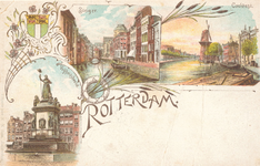 PBK-8867 Rotterdam. Vrijheidsbeeld, Steiger en het Coolvest.