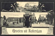 PBK-8872 Groeten uit Rotterdam. Schiekade met Delftschepoort, R.K. Weeshuis en het Stationsplein.