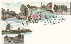 PBK-8880 Groeten uit Rotterdam. Afbeelding van De Kolk, De Coolvest, het Museum Boymans, de 8 Molens en de Vischmarkt.