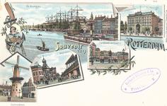 PBK-8881 Souvenir van Rotterdam. Afbeelding van de Boompjes, de Passage, Oostvestplein, Beursplein en het standbeeld ...