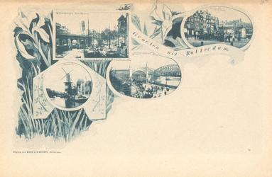 PBK-8883 Groeten uit Rotterdam. Afbeelding van Westnieuwland Open Rijstuin, Coolvest, Bruggen over de Maas, Groote ...