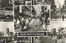 PBK-8886 Oud-Rotterdam. Kijkje op de Blaak, Korte Hoogstraat, Hoogstraat, Grote Kerk met viaduct en het Hofplein.