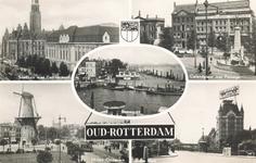 PBK-8888 Oud-Rotterdam. Zicht Stadhuis met Postkantoor, Calandplein met Passage, Boompjes, Molen Oostplein en het Witte Huis.