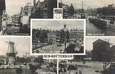 PBK-8889 Oud-Rotterdam. Zicht Toesteiger, kijkje op de Blaak, Vier Leeuwenbrug, Molen Oostplein, Delftsche Poort.