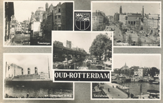 PBK-8891 Oud-Rotterdam. Toesteiger, Coolsingel, Kolkkade, s.s. Statendam H.A.L., Leuvehaven.
