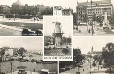 PBK-8892 Oud-Rotterdam. Wolfshoek met Luthersche Kerk, Calandplein met Passage, molen Oostplein, Boompjes, Coolsingel.