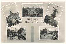 PBK-8893 Oud-Rotterdam. Stadhuis Coolsingel, molen Oostplein, Kolkkade, Hofplein met Coolsingel.