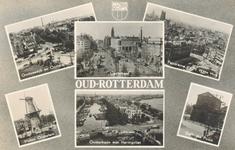 PBK-8894 Oud-Rotterdam. Oostzeedijk en Oostplein, Coolsingel, panorama v.a. 't Witte Huis, molen Oostplein, Oosterkade ...