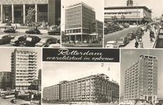 PBK-8895 Rotterdam wereldstad in opbouw. Beursplein, Holbeinhuis, Erasmushuis, Groothandelsgebouw, flatgebouw Zuidplein.