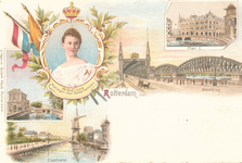 PBK-8943 Kroning Wilhelmina Koningin der Nederlanden. Rotterdam den Maasbrug, Plan C, Coolvest, Delftsche Poort.