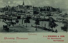 PBK-904 Nieuwjaarswens van J. v. Renswoud & Zoon.Leuvehaven met in het midden de Nieuwe Leuvebrug, Op de achtergrond de ...
