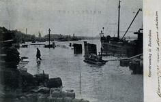 PBK-929 Overstroming van 12 maart 1906.Hoog water ter hoogte van de Boompjes bij het Bolwerk.
