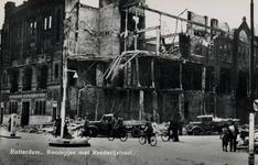 PBK-932 Puinresten na het bombardement van 14 mei 1940. De Boompjes hoek Rederijstraat met de bijbank van de ...