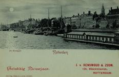 PBK-957 Nieuwjaarswens van J. van Renswoud en zoon aan de Nieuwehaven.Gezicht op de Nieuwe Maas, rechts het zwembad, ...