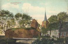 PBK-9648 De ruïne van het kasteel of reuzenhuis en de Hillegondakerk aan de Kerkstraat.