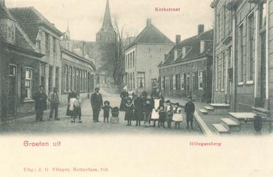 PBK-9745 Gezicht in de Kerkstraat. Op de achtergrond de Hillegondakerk en het Raadhuis.