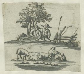 1976-3056 Tegelvoorbeeld met een voorstelling uit het landleven: herders onder een boom, schapen