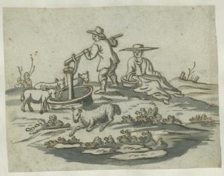 1976-3060 Tegelvoorbeeld met een voorstelling uit het landleven: herders met schapen bij een pomp
