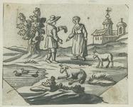 1976-3062 Tegelvoorbeeld met een voorstelling uit het landleven: man en vrouw, schapen bij een vijver. In de verte een ...