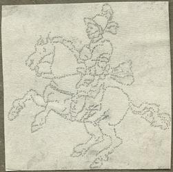 1976-3063 Tegelspons met een voorstelling van een ruiter te paard in wapenuitrusting