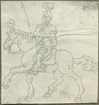 1976-3064 Tegelspons met een voorstelling van een ruiter te paard in wapenuitrusting