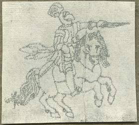 1976-3065 Tegelspons met een voorstelling van een ruiter te paard in wapenuitrusting
