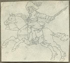 1976-3067 Tegelspons met een voorstelling van een ruiter te paard in wapenuitrusting