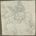 1976-3069 Tegelspons met een voorstelling van een ruiter te paard in wapenuitrusting