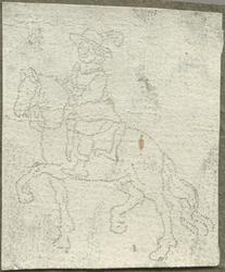 1976-3070 Tegelspons met een voorstelling van een ruiter te paard in wapenuitrusting