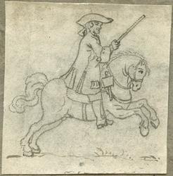 1976-3071 Tegelvoorbeeld met een voorstelling van een ruiter te paard in wapenuitrusting