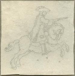 1976-3073 Tegelspons met een voorstelling van een ruiter te paard in wapenuitrusting