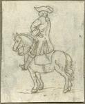 1976-3074 Tegelvoorbeeld met een voorstelling van een ruiter te paard in wapenuitrusting