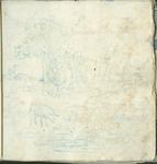 1976-3195-41 Tegelvoorbeeld met tekeningen uit het modellenboekje voor tegels: twee herders, liggend onder een boom; op ...