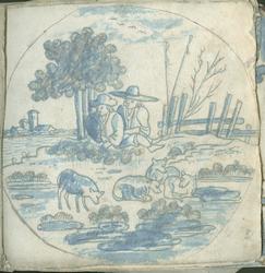 1976-3195-51 Tegelvoorbeeld met tekeningen uit het modellenboekje voor tegels: herders met schapen; in cirkel zonder ...