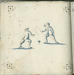 1976-3195-60 Tegelvoorbeeld met tekeningen uit het modellenboekje voor tegels: twee jongens die spelen met een ...