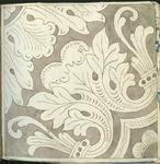 1976-3195-61 Tegelvoorbeeld met tekeningen uit het modellenboekje voor tegels: hoektegel; gestileerde bladeren.