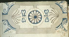 1976-3195-63 Tegelvoorbeeld met tekeningen uit het modellenboekje voor tegels: bloem- en bladmotieven. Halve grootte; ...