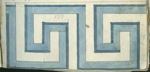 1976-3195-64 Tegelvoorbeeld met tekeningen uit het modellenboekje voor tegels: blokrand, meanderende lijn; halve grootte