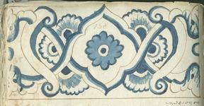 1976-3195-65 Tegelvoorbeeld met tekeningen uit het modellenboekje voor tegels: bloemmotieven; halve grootte; randen ...